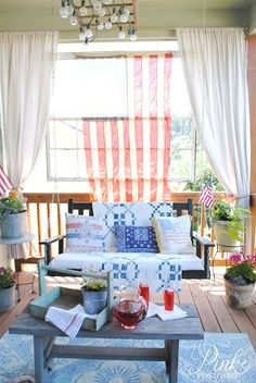 *Pink Postcard*- Vintage Farmhouse Fourth of July porch