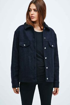 Vanessa Bruno Athé Bruce Shearling Collar Jacket in Navy - Urban Outfitters