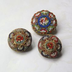 Antique Italian Micro Mosaic Brooch Earrings Set Glass Tile Rose Floral 1930s Italy Mother's Day Gift