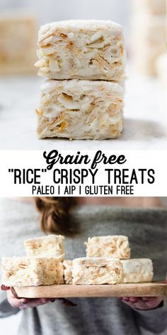 These rice crispy treats aren't made with rice at all, but they still bring you back to the memories of the real thing! They're grain free, gluten free, paleo and even AIP compliant. These grain free rice crispy treats are close to the real thing! Dieta Paleo, Paleo Sweets, Paleo Dessert, Paleo Diet Breakfast, Paleo Menu, Paleo Food, Paleo Dinner, Paleo Bread, Paleo Vegan