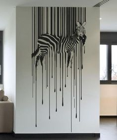 Vinyl Wall Decal Sticker Drippy Zebra - Home Design Diy Wand, Office Wall Decor, Room Wall Decor, Bedroom Wall, Mur Diy, Wall Decal Sticker, Sticker Vinyl, Decals For Walls, Wall Vinyl
