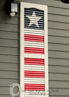 Shutter upcycle project- Flag decor for Memorial Day or of July l Too Much Time on My Hands 6 copy Patriotic Crafts, July Crafts, Holiday Crafts, Diy Shutters, Window Shutters, Repurposed Shutters, Window Frames, Decorating With Shutters, Cottage Shutters