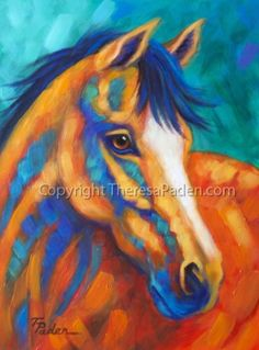 Western Horse Painting in Southwest Colors by Theresa Paden -- Theresa Paden