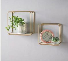 Metal Wire Floating Wall Shelf Multi Section Tromso Home Decor Set of 2 Gold Square Floating Shelves, Floating Wall Shelves, Hanging Shelves, Gold Shelves, Cube Wall Shelf, Frame Shelf, Tromso, Wire Storage Shelves, Home Decor Sets