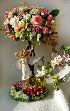 """Topiary tree / Топиарии ручной работы. Ярмарка Мастеров - ручная работа. Купить Топиарий""""Лесная фея"""". Handmade. Розовый, подарок на 8 марта, фея"""