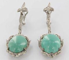 Vintage 10 Karat White Gold Diamond Turquoise Dangle Drop Earrings Estate Jewelry Fine $1,695
