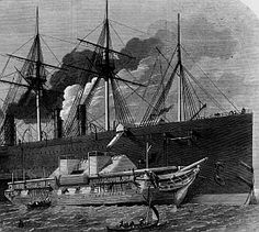 Telegraph cable being loaded onto the Great Eastern, 1866