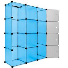 Black Plastic Wardrobe Storage Box Cube with Clothes Rail Storage Interlocking System Cabinet Organiser Storing Unit 109x145cm: Amazon.co.uk...