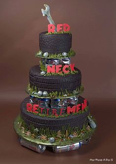 I love the idea of this cake... Instead of road tire tread, do the typical dirt tire tread. Maybe instead of grass around the tires have a checkered ribbon it then have the racing couple on top of the cake. & Yes. I would!