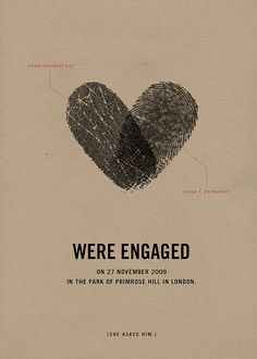 Couples Fingerprint Heart /  Lovely Save The Date!