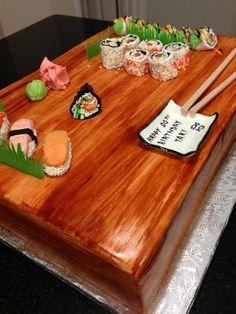 Sushi platter cake - via Sushi Cake, Sushi Platter, Cupcake Cakes, Cupcakes, Yummy Cakes, Nom Nom, Cake Decorating, Sweet Tooth, Sweet Treats