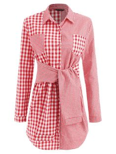 17cfa2ffca7 Knotted Gingham Shirt Dress - LOVE RED L Gingham Shirt