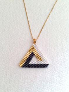 Triangle Pendant 3 D Miyuki beads, black, white, gold
