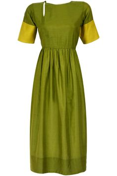 Featuring an olive green silk kurta dress with keyhole detailing, gathers around waist and yellow fabric detail on cuffs. Description from perniaspopupshop.com. I searched for this on bing.com/images