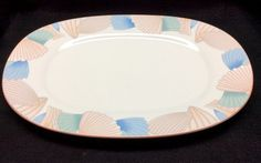 Noritake OCEAN MELODY 9417 Oval Serving Platter New Decade Dinnerware Pastel Shells peach Trim 14 inches diameter Excellent Condition by libertyhallgirl on Etsy $24.99