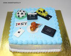 Laptop, iPhone, Chicken wings, Newyork theme small customized designer fresh cream birthday cake for husband at Wakad, Pune