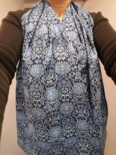 Dining Scarf/Adult Bib Alternative U2013 Gorgeous Blue Floral Scarf For Eating  Out Or In. Cotton Scarf Protects Drips U0026 Spills With Dignity