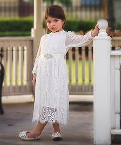 Look what I found on #zulily! White Lace Lady Madeleine Dress - Toddler & Girls by Trish Scully Child #zulilyfinds