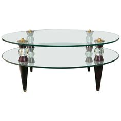 Art Deco Glass and Mirror Coffee Table Mid-Century Modern Regency Furniture, Art Deco Furniture, Mirrored Coffee Tables, Modern Coffee Tables, Mid Century Coffee Table, Circular Mirror, Art Deco Glass, Glass Table, Glass Shelves