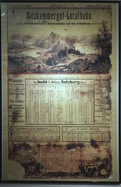 Fahrplan der Salzkammergut Lokalbahn - SKGLB - 1898 Salzburg, Lokal, Travel Posters, Planer, Austria, Destinations, Viajes