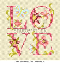 Find Crossstitching Embroidery Love Vector Illustration stock images in HD and millions of other royalty-free stock photos, illustrations and vectors in the Shutterstock collection. Thousands of new, high-quality pictures added every day. Cross Stitch Quotes, Cross Stitch Bookmarks, Cross Stitch Love, Cross Stitch Cards, Cross Stitch Alphabet, Cross Stitch Flowers, Counted Cross Stitch Patterns, Cross Stitching, Cross Stitch Embroidery