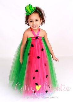 Tutu Dress - Watermelon Birthday or Halloween Costume - Pink & Green - Marvelous Melon - 3-4 Toddler Girl - Cutie Patootie Designz