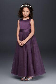 604303ed69603 Satin Flower Girl Dress with Tulle Skirt Style S1038