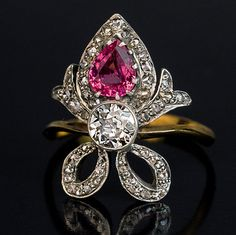 Belle Epoque Antique Tourmaline Diamond by RomanovRussiacom