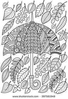 Hand draw doodle coloring page for adult. I love Autumn. An Umbrella and Leaves. Fashion Style. Raster copy