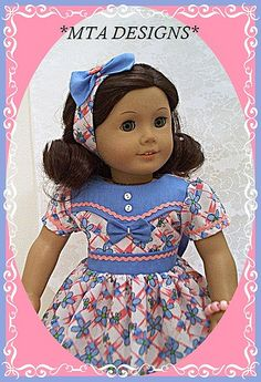 "Time-period 1940s/50s ""Posies & Bows"" designed for American Girl Doll by MTA DESIGNS"
