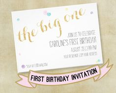 The Big One | First Birthday Invitation | Pink and Gold First Birthday