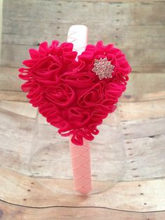 Hot Pink Shabby Heart on a Light Pink Woven by JustAboutBows