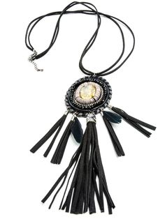 Jewelry - Inola Necklace, long vegan leather fringe necklace, tassels & boho beaded medallion, large stone -() Bohomonde  - 2