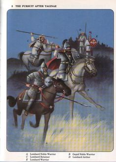 General Narses' army in pursuit after the battle of Taginae, 552 AD.