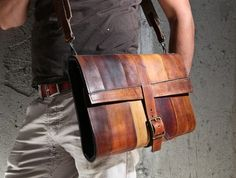 Leather laptop bag by Fullgive via Etsy