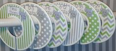6 Custom Baby Closet Clothes Dividers Organizers in Mossy Sage Green Grey Elephants Chevrons Dots Stripes Boy Girl Baby Shower Nursery Gift