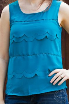 LOVE this color!!! Would love this in my next fix! Stitch Fix Review March 2015 featuring Papermoon Jules Scalloped Blouse!