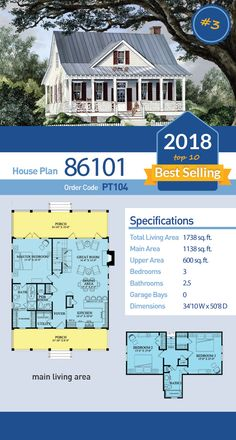 of Top Ten Best Selling House Plans, Farmhouse Style House Plan 86101 has 1738 SQ FT of living space, 3 bedrooms and bathrooms. of Top Ten Best Selling House Plans, Farmhouse Style House Plan 86101 has 1738 SQ FT of living space, 3 bedrooms and bathrooms. Cottage House Plans, Dream House Plans, Cottage Homes, Cottage Style Houses, Colonial Cottage, Country House Plans, Farm House, Small Farmhouse Plans, Farmhouse Style