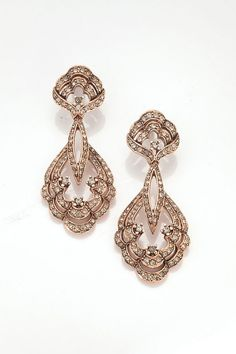 Rose Gold Pave Crystal Chandelier Earring,  Scallop Shell Design