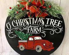 Etsy :: Your place to buy and sell all things handmade Christmas Wooden Signs, Christmas Front Doors, Christmas Tree Farm, Christmas Fun, Christmas Wreaths, Christmas Red Truck, Christmas Wall Hangings, Christmas Door Decorations, Christmas Door Hangers