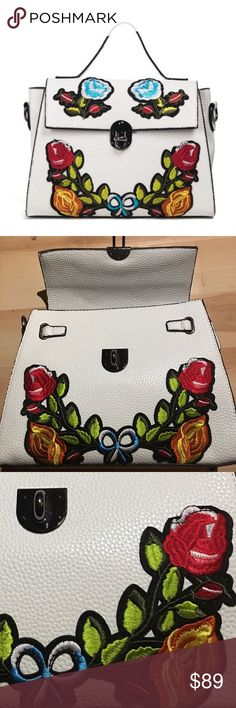 "Extraordinary Embroidered Floral Extraordinary Embroidered Floral Bag in White Pebbled PU don't be fooled! It feels and looks just like the real thing! I'm quite impressed with this Bag! Lined, 1 Zip, multiple slip pockets Adjustable/Detachable Strap and feet to protect the bottom of this beauty!  High Quality is all over this the Embroidery accent touch is impeccable! Handle drop measures approx 3.5"" bag measures approx 11.5 X 8.25 X 3.5 Closure is by turn lock plz see all pics as they're a…"