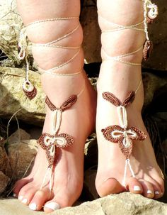 Crochet Barefoot Sandals, Clover Sandles, ivory brown Nude Summer Shoes, Beach Lace Up Foot Jewelry, Gothic Bohemian Hippie Sandals, Anklets