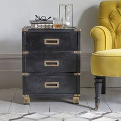 In black stained mango wood with luxury brass detailing, our Greenwich Bedside Drawers will add a decadent finish to a master suite or guest bedroom. There's plenty of storage space inside the three drawers with a lipped surface to display task lighting a Barn Bedrooms, Guest Bedrooms, Handmade Furniture, Unique Furniture, Desk Storage, Storage Spaces, Bedside Drawers, Bedside Tables, Clothes Rail