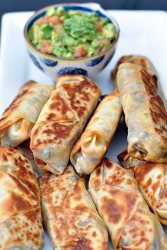 Baked and healthy Southwestern Eggrolls from SixSistersStuff.com ..these actually get crispy! Can add chicken for extra protein to make a meal. Made about 16 egg rolls!.