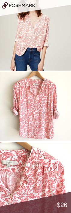 LOFT Red Printed Henley Utility Blouse Paisley Perfect top for summer! Fun print in a lightweight fabric. Roll sleeves. Henley front. Loose fit through body. EUC LOFT Tops Blouses