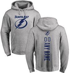 Tampa Bay Lightning Fanatics Branded Personalized Backer Pullover Hoodie - Ash