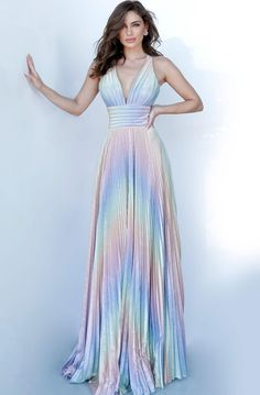 Make your best color all of them at Prom 2020 in this A-line swept, rainbow-pleated Jovani Dress 02285 cut with an open strapped back and a plunging neckline contoured with a high waistband to further amp undeniable allure in marvelous Multi. Jovani Wedding Dresses, Jovani Dresses, Rainbow Wedding Dress, Rainbow Dresses, Rainbow Bridesmaid Dresses, Ombre Prom Dresses, Homecoming Dresses, Perfect Prom Dress, Beautiful Gowns