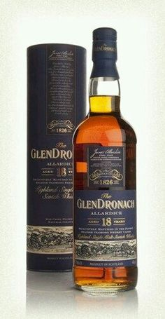 Glendronach 18 year old - This 18 year old single malt whisky from the independent Glendronach distillery is matured in Oloroso Sherry casks and packs a fruity punch with a spicy kick! Cigars And Whiskey, Bourbon Whiskey, Whiskey Bottle, Scotch Whisky, Fun Drinks, Alcoholic Drinks, Cocktails, Spirit Drink, Champagne