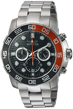 Invicta Mens Pro Diver Quartz Stainless Steel Casual Watch ColorSilverToned Model 22230 ** Details can be found by clicking on the image.