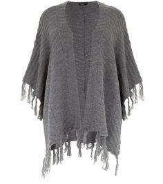 Inspire - Cardigan style poncho gris avec franges à l'ourlet